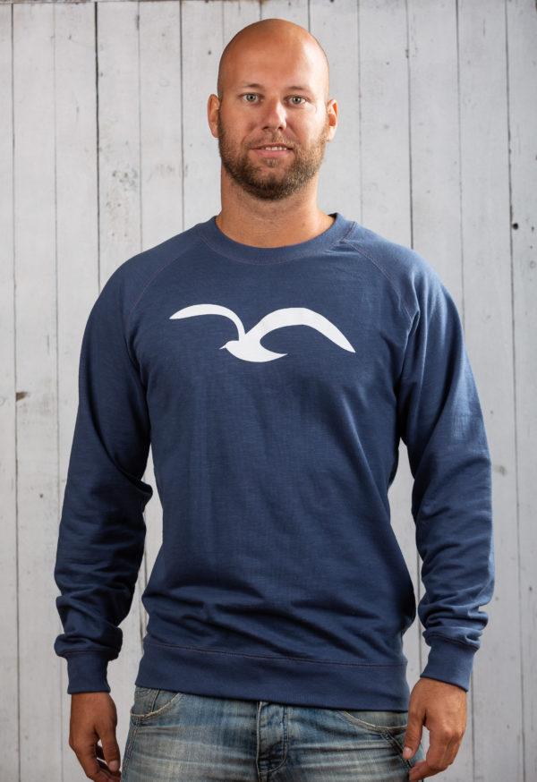 herren pullover ostsee blau