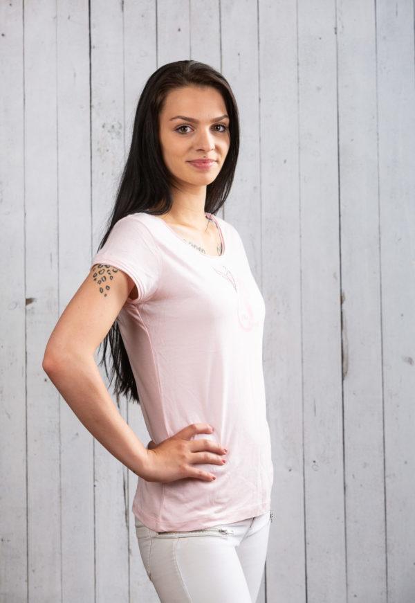 Glänzendes rosa Ostsee-Shirt für Damen mit Strass von Ostseekind